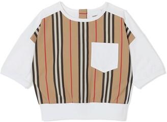BURBERRY KIDS Icon Stripe panel T-shirt