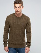 Jack Wills Merino Jumper In Cable Pine