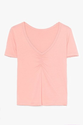 Nasty Gal Womens Let's V How It Goes Scalloped Tee - Orange
