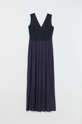 H&M Long Lace-bodice Dress - Blue