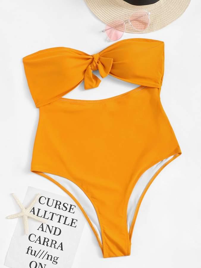 Plus Cut-out Knot Front Bandeau One Piece Swimwear