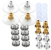 18 Pair Stainless Steel Assorted Ear Backs - Silver