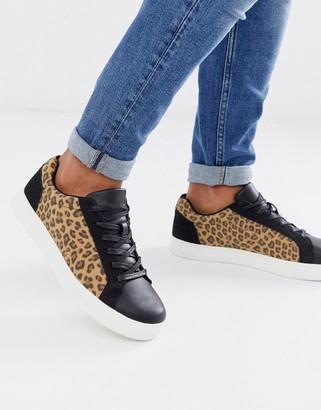 Brave Soul leopard print trainers-Black