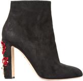 Dolce & Gabbana Floral-embellished suede boots