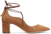 Rupert Sanderson Poet Lace-up Suede Pumps - Tan