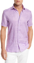 Ermenegildo Zegna Over-Dyed Linen Short-Sleeve Sport Shirt, Purple