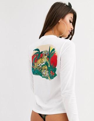 RVCA Tiger Attack beach t-shirt in white