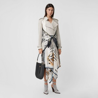 Burberry Animalia Print Linen Trench Dress