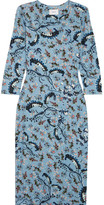 Erdem Allegra Printed Stretch-ponte Dress - Blue