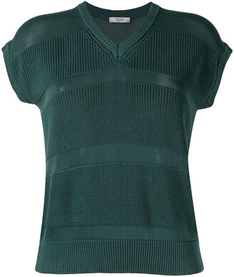 Peserico V-neck cotton knitted top