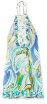 Emilio Pucci Crochet-paneled Printed Broderie Anglaise Cotton-blend Mini Dress - Sky blue