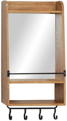 Uma Metal & Wood Mirrored Wall Shelf