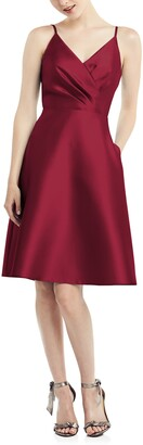 Alfred Sung Fit & Flare Satin Twill Cocktail Dress
