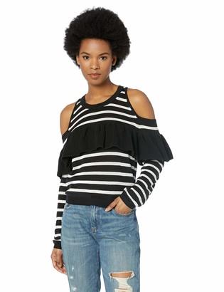 Jack by BB Dakota Junior's Good Exposure Striped Cold Shoulder Ruffle Sweater Black Medium