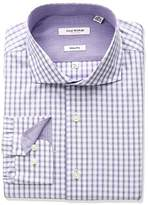 Isaac Mizrahi Men's Slim Fit Multi Check Cut Away Collar Dress Shirt