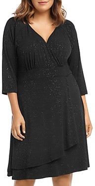 Karen Kane Plus Sparkle Knit Faux-Wrap Dress