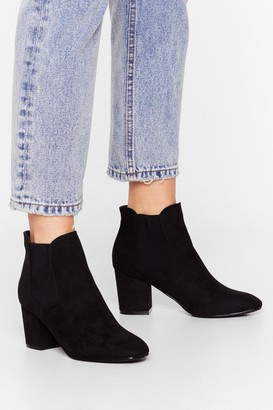 Nasty Gal Womens Block Their Number Faux Suede Chelsea Boots - Black