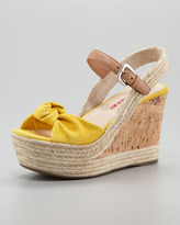 Prada Suede Knot Cork Wedge, Yellow