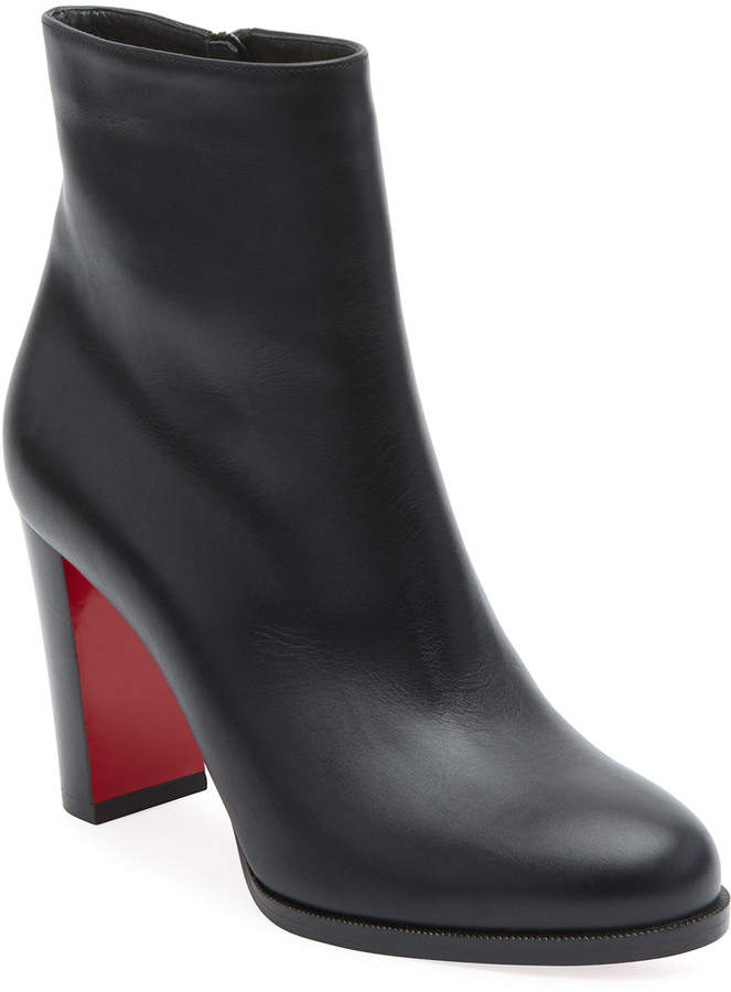 572d168dab8 Adox Leather Block-Heel Red Sole Boot