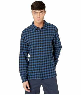 RVCA Men Telegraph Button-Up Flannel Blue X-Large