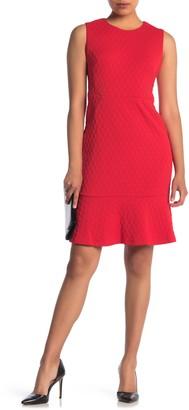 Maggy London Textured Flounce Hem Sheath Dress (Petite)
