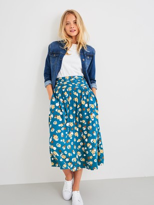 White Stuff Matilda Floral Midi Skirt, Navy/Multi