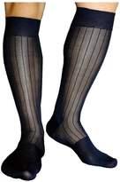 Mr.Babuu 3Pairs Pack Men's 100% Nylon Sexy Striped Knee High Long Sheer Socks