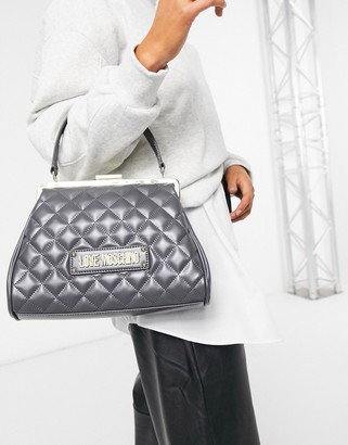 Love Moschino quilted structured top handle bag in gray