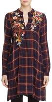 Johnny Was Esmeralda Floral Embroidered Plaid Trapeze Tunic