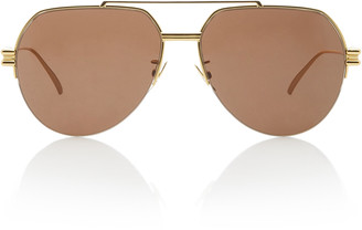 Bottega Veneta Oversized Aviator Gold-Tone Sunglasses