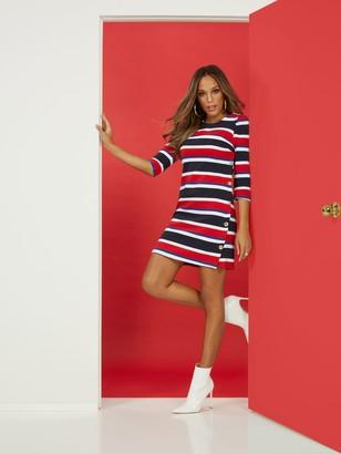 New York & Co. Nautical Stripe Shift Ponte Dress - Superflex