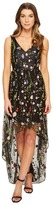 Adrianna Papell Embroidered Tulle V-Neck High-Low Hem Gown Women's Dress