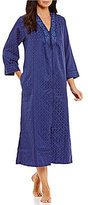 Miss Elaine Embroidered Satin & Fleece Tasseled Zip Robe