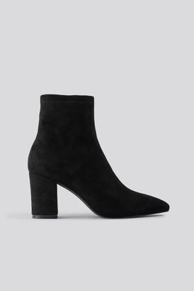 NA-KD Basic Pointy Block Heel Booties Black
