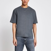 River Island Mens Grey pocket front boxy fit T-shirt