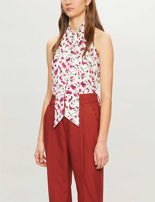 Me And Em Floral-print halter-neck woven top
