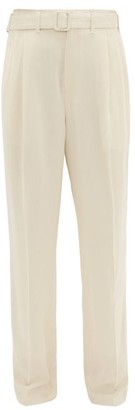 Lemaire Belted Crepe Wide-leg Trousers - Ivory