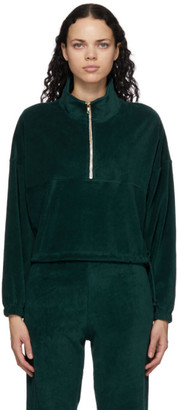 Gil Rodriguez Green Velour Diana Half-Zip Sweatshirt