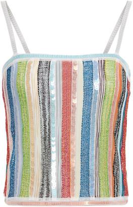 Missoni Sequin-embellished Metallic Striped Crochet-knit Top