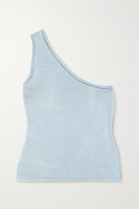 Calle Del Mar Cropped One-shoulder Stretch-knit Top - Blue