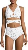 Proenza Schouler Women's Solid Printed Bikini Top and Bottom Set