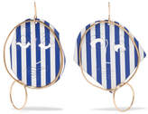 J.W.Anderson Moon Face Gold-tone And Varnish Earrings - Blue