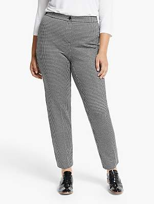 Marina Rinaldi Persona by Dogstooth Jersey Trousers, Black