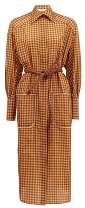Fendi Belted Checked-silk Shirt Dress - Yellow Print