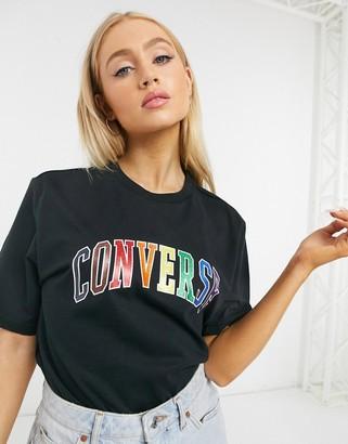 Converse pride rainbow logo t-shirt in black