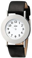 Alessi Unisex Automatic Watch with White Dial Analogue Display and Black Leather Bracelet AL4000