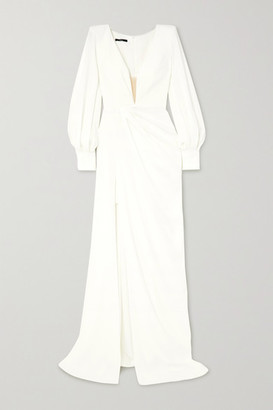 Alex Perry Clark Draped Crepe Gown - White