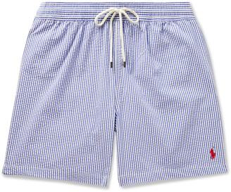 Polo Ralph Lauren Traveler Mid-Length Striped Seersucker Swim Shorts