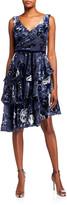 Marchesa Sleeveless Velvet Burnout Chiffon Dress w/ Tiered Skirt