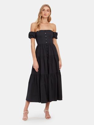 STAUD Elio Off the Shoulder Button Down Dress
